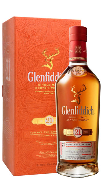 Whisky Single Malt 'Reserva Rum Cask Finish' Glenfiddich 21 Anni